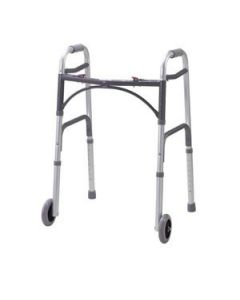 "Two Button Aluminum Folding Walker with 5"" Wheels"